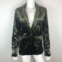 Sanctuary Large Olive Green Crushed Velvet Boho One Button Blazer Jacket