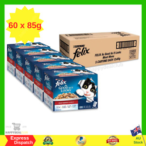 Felix As Good As It Looks Meat Menus Wet Cat Food 60 X 85g Bulk Value Pack NEW