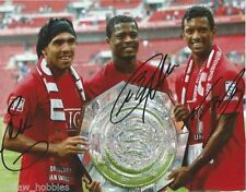 Manchester United Carlos Tevez Nani Patrice Evra Signed Autograph 8x10 Photo Coa