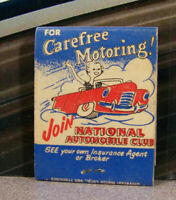 Vintage Matchbook S6 National Automobile Club Car History Carefree Motoring Join