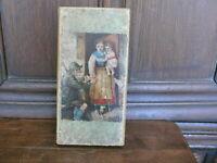 Rarität altes Kästchen von 1870 Karton massiv grünlich mit dekorativem Bild
