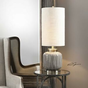 ZAHLIA MODERN EMBOSSED CERAMIC ACCENT BUFFET TABLE LAMP BRASS METAL UTTERMOST