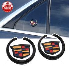 2x For Cadillac Fender Marker Door Logo Badge Emblem Car Decoration Sport Black
