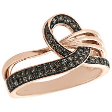 Ribbon Right Hand Ring 1/3 Ct. 10K Rose Gold Brown Diamond Women's Awareness