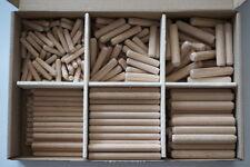 Holz Dübel Sortiment, Riffeldübel, Buche, verschiedene Größen 6, 8 und 10 mm