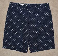 New Tommy Hilfiger Bermuda Shorts Blue White Polka Dot Cotton Khakis Sz 4 Womens
