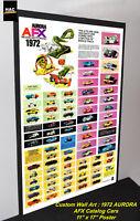 """Custom AFX Wall Art - AURORA """"TJet AFX 1972 Catalog Cars"""" 11W x 17T Hi QA POSTER"""