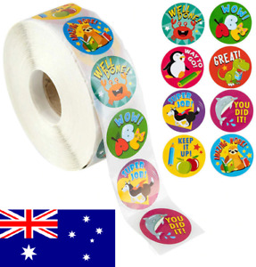 50x School Teacher Reward Children's Kids Reward Stickers Animal 25mm *AU STOCK*