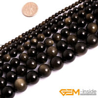 """Natural Stone Golden Obsidian Round Beads For Jewelry Making 15"""" 6mm 8mm 10mm"""