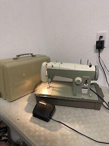 Vintage Sears Kenmore Sewing Machine Model 2142 Case Foot Pedal Green 158.850