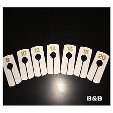 7 CLOTHES RAIL DIVIDERS/ RETAIL GARMENT FASHION WHITE GOLD/ 8 10 12 14 16 18 20