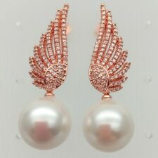 14mm White Sea Shell PearlRose Gold PlatedWingStud Earrings