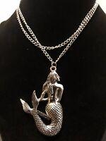 LAGHCAT Mermaid Silver Toned NECKLACE Pendant 26 Inch Chain EUC