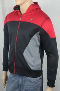 Nike Child Jumpman Red Black Grey Therma Fit Hooded Fleece Track Jacket NWT