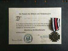 GERMAN. 3rd REICH. HINDENBURG CROSS OF HONOR WITH SWORDS & CERT -:-  GENUINE.