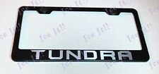 TUNDRA TRD Stainless Steel Black License Plate Frame Rust Free Caps