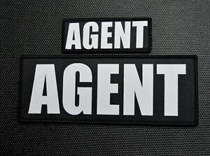 Woven AGENT Patch Set Law Enforcement LEO Hook/Loop Backing Light Grey FBI
