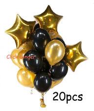 Gold Star Foil Helium Balloon Black & Metallic Gold Latex Balloons (20pcs)