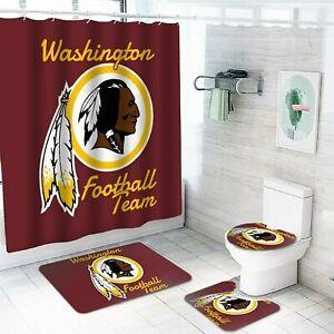 Washington Redskins Bathroom Rugs Shower Curtains Non-Slip Mat Toilet Lid Cover