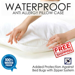 100% Waterproof Zippered Pillow Case Allergy Bed Bug Protector Cover