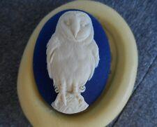 BARN Owl cameo silicone push mold mould polymer clay resin Sugar Craft WAX USA