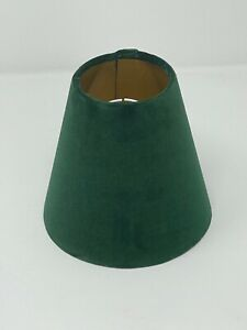 Lampshade Forest Green Velvet Brushed Gold Small candle Clip Tapered