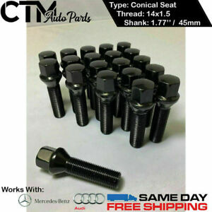20 PCS BLACK 14X1.5 CONE SEAT LUG BOLTS 1.77'' 45MM THREAD FIT AUDI MERCEDES