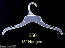 "250 Retail Clothes Hangers 15"" [38 cm] Plastic w/Strap Slots Children Teen"