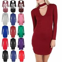 Womens Mini Dress Ladies Keyhole Cut Polo Choker V Neck Tunic Curved Hem Bodycon