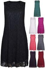Womens New Floral Lace Lined Ladies Sleeveless Vest Short Mini Dress Plus Size