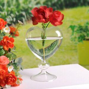 Glass Flower Pots Planter Heart Vase Standing Home Decor Valentine Wedding Party