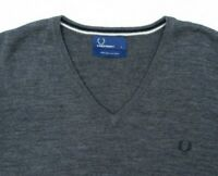 Fred Perry Merino Wool Grey V-Neck Jumper Sweater Pullover Size L