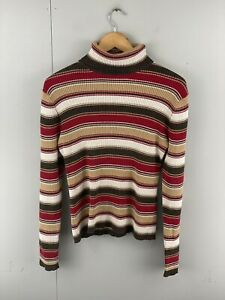 Old Navy Womens Vintage Long Sleeve Turtle Neck Striped Pullover Skivy Sz Large