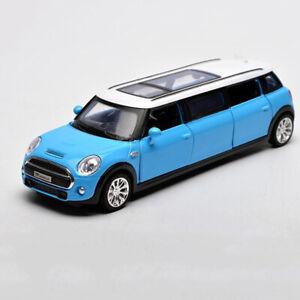 1:36 BMW Mini Extended Limousine Model Car Metal Diecast Toy Vehicle Kids Blue