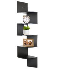 5 Tier Corner Wall Mount Wooden Shelves Espresso Home / Office Shelf Decor