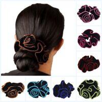 Velvet Flower Hair Scrunchie Ponytail Holder Hair Ties Rope Elastic Hair new