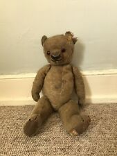 """ADORABLE OLD ANTIQUE VINTAGE STRAW FILLED MOHAIR FULLY JOINTED TEDDY BEAR 18"""""""