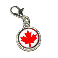 Canada Maple Leaf Flag - Antiqued Bracelet Pendant Charm with Lobster Clasp