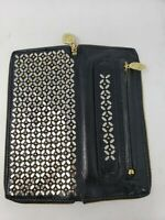 Calleen Cordero Mila Wallet Clutch Black/Gold Leather Zip Retails $465 Studded