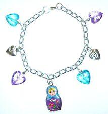 Painted Lady-Color Púrpura Y Aqua Babushka Muñeca Rusa & corazón Pulsera