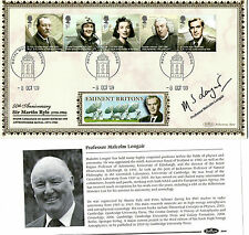 8 OCTOBER 2009 EMINENT BRITONS SIGNED MALCOLM LONGAIR BENHAM FIRST DAY COVER