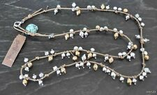 Lucky Brand Summer Beads Beaded Silver Gold Tone Necks Necklace Long or Doubled