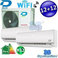 3S CLIMATISEUR DUAL SPLIT WIFI DILOC R32 12000+12000 3,2+3,2Kw compresseur SHARP