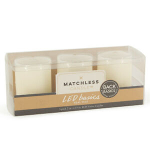 """3pk Matchless Candle Co. LED Basics Flameless Real Wax 2"""" Votives With Batteries"""
