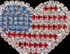 PATRIOTIC FLAG UNITED STATES USA MEMORIAL INDEPENDENCE DAY HEART PIN BROOCH 1.75