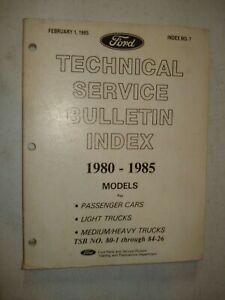 1980-1985 FORD TECHNICAL SERVICE BULLETINS INDEX SHOP REPAIR TRUCK CAR VAN
