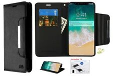 For Apple iPhone XR Strap Leather Folio Flip Wallet Phone Case Cover +Kit BLACK