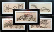 Xenomorph Alien HR Giger Framed Art Print Set Of 5 Signed Artist Chris Oz Fulton