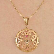Antico Periodo edoardiano 9 KT Oro Circolare Rosa Tormalina & Pearl Set Ciondolo c1910