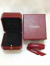 Authentic Cartier Ring Box Case Empty Red Leather Gold Design Pendant Ribbon T2
